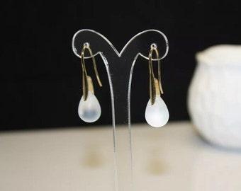 White Matte Moonstone Czech Crystal Teardrop Gold Plated Handmade Earrings