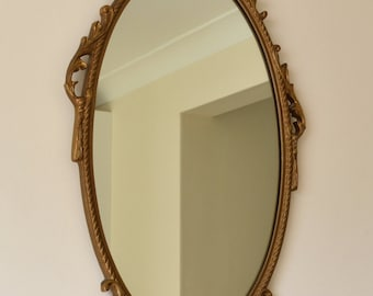 Vintage Ornate Gold Framed Oval Wall Mirror Lovely Condition