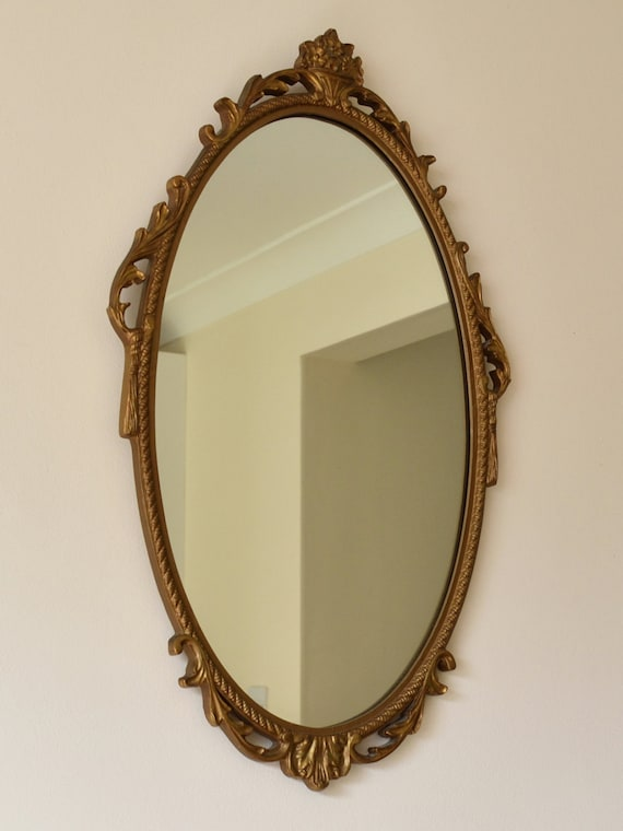 Vintage ornate gold framed oval wall mirror lovely condition for Mirror 40cm wide
