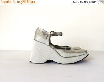 20% OFF Vintage Metallic Silver Platform Shoes