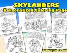 SKYLANDERS COLORING book - Skylanders printable book. Skylanders birthday party. Skylanders color book. Skylanders party favor