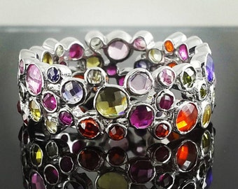 Multi coloured band cz sterling silver 925 band