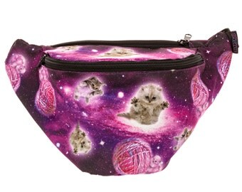 Galaxy Cat Fanny Pack - Cute cool rave festival waist bag with Hidden Pocket