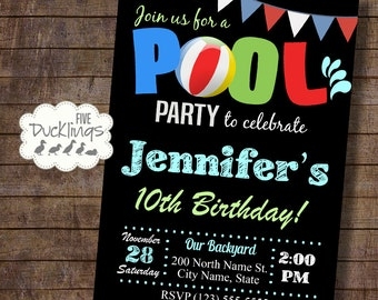 Pool Party Invitation, Birthday party invite, Twins Birthday, Siblings party, Printable Digital Invitation, A156