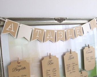 """A table!"" banner pennant bevelled in kraft paper and ivory"