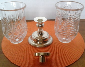 """Mikasa Silver Candleholder, Mikasa 11 inch Tall Silver Candle Holder with """"Cut"""" Glass Hurricanes, Vintage Mikasa Candleholder"""