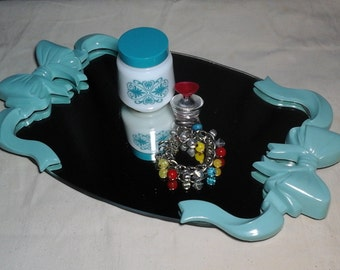 Mirrored Vanity Tray, Aqua Painted Plastic Ribbons on Mirrored Tray