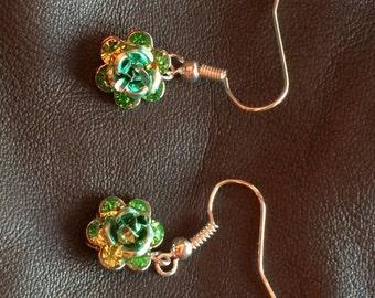Green rhinestone rose bling new