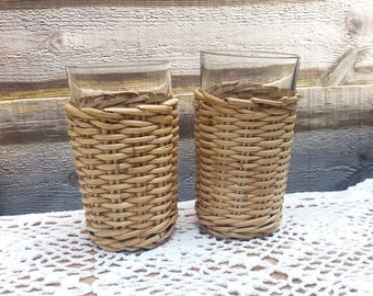 Rustic vintage tea glasses in rattan holders | wicker baskets
