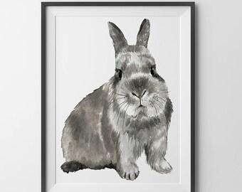 Bunny Watercolor print. Kids wall art.Rabbit print.Farm animals.
