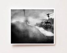 Ngong Ping 360, Hong Kong - Fine art Giclee print of original charcoal drawing, Wall art, home decor, art prints, landscape, scenery
