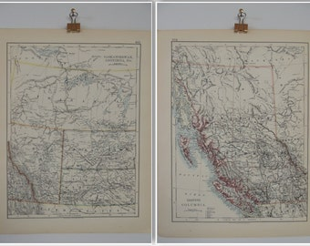 Map of Canadian Saskatchewan, Assiniboia and British columbia Vintage 1904