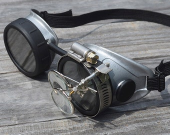 Steampunk Goggles, Steampunk, Goggles, Silver Goggles, Black Goggles, Victorian, Motorcycle, Sunglasses, Eyewear, Victorian Sunglasses