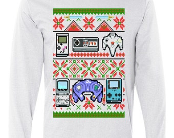 Retro Video Game Ugly Christmas Sweater Long Sleeve Shirt