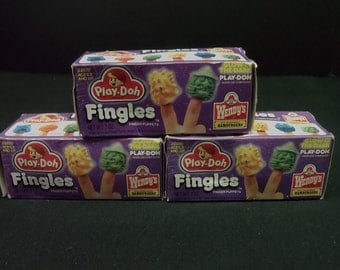 1989 Wendy's Kenner Play-Doh GITD (Glow in the Dark) Fingles!  Rare find! All 3 are different and Mint in boxes!