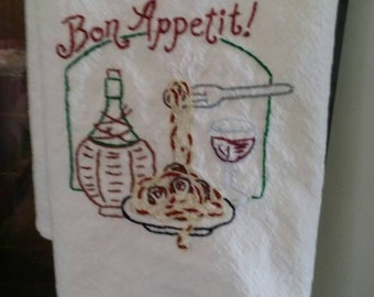 Hand Embroidered cotton kitchen towel, Bon Appétit, Spaghetti and meatballs, wine, Italian dinner, cafe, vintage, tea towel, vino,