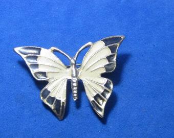 Antique Vintage Costume Brooch Butterfly Enamel