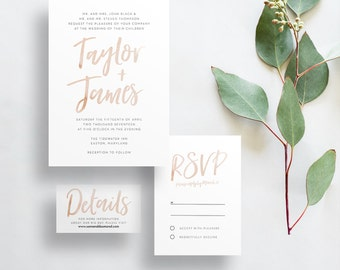 watercolor brush lettering wedding invites // pale taupe watercolor // sand watercolor // party invite // printable // custom invites