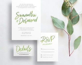 watercolor hand lettering wedding invites // bright green watercolor // citron //  hand lettered // green party invite // printable //custom