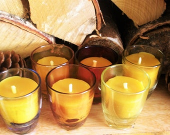 6 x 100% Beeswax Candles, Retro Colour Shot Glasses, Natural, Handmade