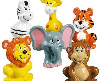 """2"""" Set of 12 Zoo Animals Tiger, Lion, Elephant, Monkey Action Figure Toys- SKU # FE-16-955"""