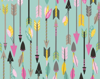 Luckie - Quills & Arrows Turquoise - 100% Premium Cotton Fabric (Blend Fabrics 101.115.06.2)