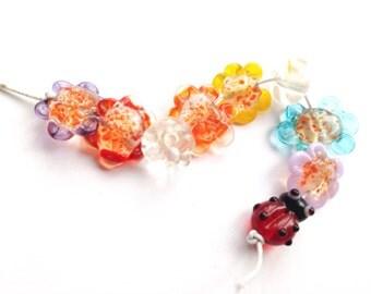 Flowers and Ladybird Bead Lampwork Mini Set SRA