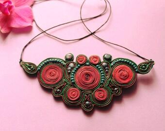 Psychedelic necklace, colorful bijou.