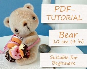 "Miniature Teddy Bear Pattern (4""/10cm). Step by step PDF-tutorial. Artist Teddy Bear ePattern"