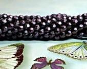 4mm Glass Beads, 50 Pcs. BLACK CURRANT POLYCHROME Czech Fire Polished Glass Beads