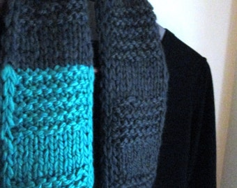Granite and Spearmint Skinny Infinity scarf