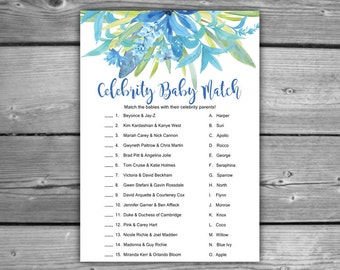 Blue Floral Baby Shower Celebrity Baby Match Game - Printable - Instant Download - Blue Baby Shower Game - 085
