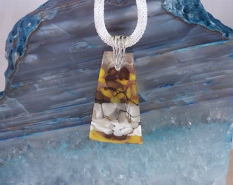 Silver, Yellow, Brown and White Fused Glass Pendant