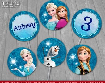 Frozen 2in Topper - INSTANT DOWNLOAD - Disney Frozen Cupcake Toppers Birthday Party - Frozen Elsa Anna Olaf Party Decoration - Editable Text