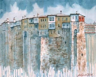 Mount Athos Hilandar Serbian Monastery Stone Walls (Print)