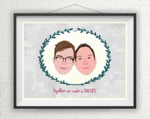 Custom Gay Couple Portrait Illustration / Save the Date / Gay Wedding Gift / Gay Couples / Gay Pride / Gay Marriage / Gay Gift