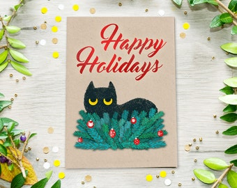 Cat Christmas Card, Funny Cat Postcard, Holiday cards, hannukah card, winter card, cat card, grumpy cat, funny christmas card, printable