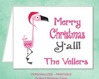 Personalized Pink Flamingo Christmas Card Southern Merry Christmas Y'all Family Girl Christmas Card - DIY Printable Christmas Card