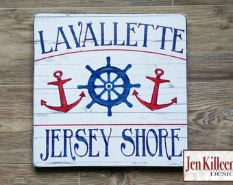 Jersey Shore Lavallette NJ Wood Sign or Custom Town Sign