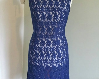 "Vintage Dress. 1960s Dress. Blue Lace Shift Dress size 12.Sleeveless. Knee Length. High Neck. Lacy Dress. 1960s Shift Dress, Bust 38"""