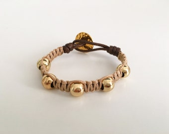 Woven Beige and Gold Bracelet