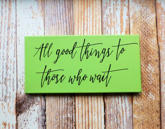 Hand painted quote canvas wall art mint by picklespaintingco for Good quotes to paint on my wall