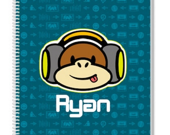 Personalized Monkey Notebook. Cool Kids Notebook, but also a great Adult Notebook. Our Custom Notebooks make a great Birthday Gift.