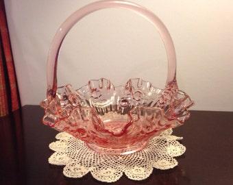 Vintage Pink Art Glass Basket w/ Handle