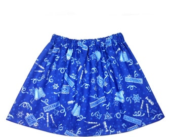 Girl's sizes 3T-12 Hanukkah, Chanukah, holiday skirt, 100% cotton, with scrolls, candles, & the Star of David  in blue and silver