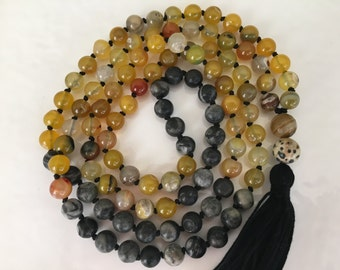 Mala Necklace- Serpentine and Yellow Agate