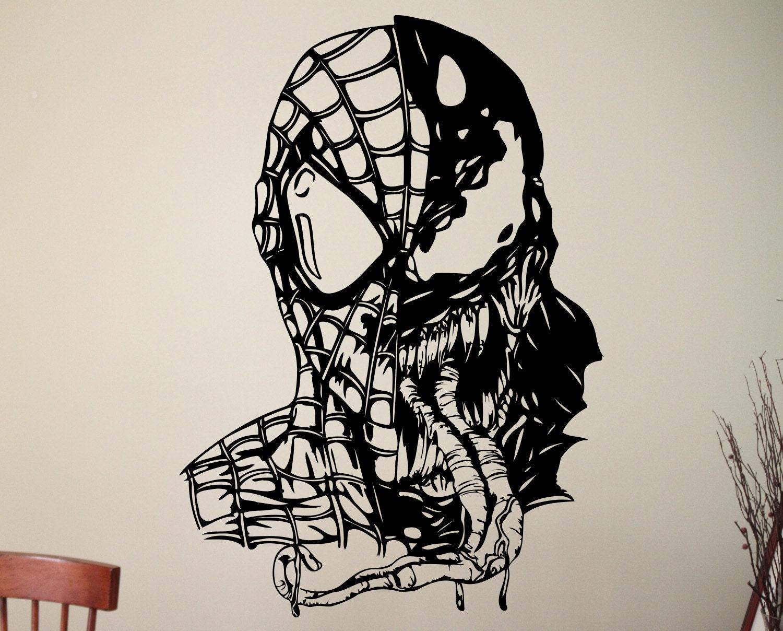 Name Stickers For Walls Venom Spiderman Wall Decal Marvel Comics Wall Art Vinyl Art