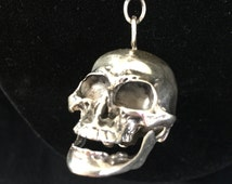 Antique sterling silver memento mori skull assemblage watch chain necklace