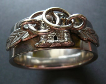 Antique Scottish Silver Love Knot Bracelet with Castle