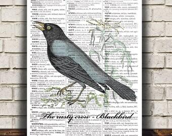 Blackbird print Wildlife art Bird poster Dictionary print RTA1087